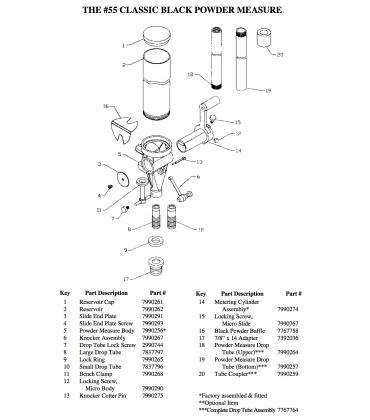 # 55 Adjustable Powder Measure Replacement Parts